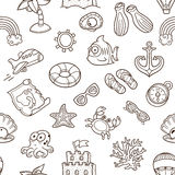 Vector beach seamless pattern. Summer background. Royalty Free Stock Images