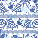 Vector beach seamless pattern. Summer background. Royalty Free Stock Photos