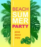 Vector Summer party vertical poster with tropical leaves. stock illustration
