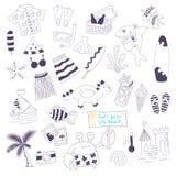 Vector beach themed  doodles set Stock Photos
