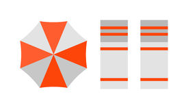 Vector beach top view with umbrella bright towels holiday travel design. Stock Images