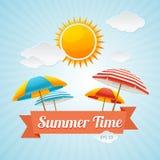 Vector Beach Umbrella Summer Card Royalty Free Stock Photos