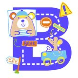Vector bear alphabet. For wallpaper wall Royalty Free Stock Image