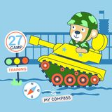 Vector bear go to war. For scrapbook and wallpaper Royalty Free Stock Photo