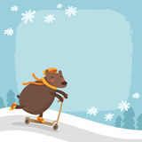 Vector bear riding a scooter, winter background Stock Image
