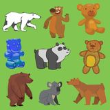 Vector bear set wild animal different style flat, handdraw, cartoon wild angry brown, grizzly, cute panda and polar bear Royalty Free Stock Image