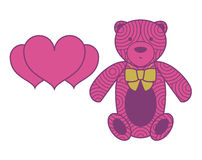 Vector bear toy with a ribbon and heart-shaped pl Royalty Free Stock Photo