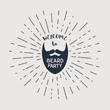 Vector beard with hipster lettering Royalty Free Stock Photo