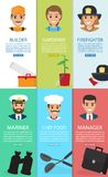 Professions theme and Auxiliary elements six cards. Vector of bearded mariner with binoculars, builder with tool box, gardener with plant in pot, firefighter Royalty Free Stock Images