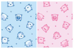 Vector bears cartoons seamless pattern. Cute baby bears cartoons seamless pattern, pink and blue colors royalty free illustration