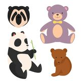 Vector bears different style funny happy animals cartoon predator cute bear character illustration.  Royalty Free Stock Photography
