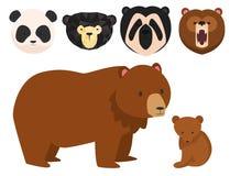 Vector bears different style funny happy animals cartoon predator cute bear character illustration.  Stock Photography