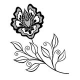 Vector Beautiful Abstract Black Flower Stock Images