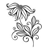 Vector Beautiful Abstract Black Flower Stock Photo
