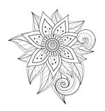 Vector Beautiful Abstract Monochrome Floral Composition. With Flowers, Leaves and Swirls. Floral Design Element in Doodle Style Coloring Book Page Royalty Free Stock Image