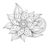 Vector Beautiful Abstract Monochrome Floral Composition. With Flowers, Leaves and Swirls. Floral Design Element in Doodle Style with Realistic Shadows Royalty Free Stock Images