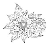 Vector Beautiful Abstract Monochrome Floral Composition. With Flowers, Leaves and Swirls. Floral Design Element in Doodle Style Coloring Book Page Stock Photography