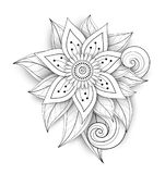 Vector Beautiful Abstract Monochrome Floral Composition. With Flowers, Leaves and Swirls. Floral Design Element in Doodle Style with Realistic Shadows Royalty Free Stock Photography