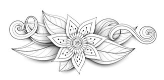 Vector Beautiful Abstract Monochrome Floral Composition. With Flowers, Leaves and Swirls. Floral Design Element without Specific Form. Doodle Style with Stock Photography