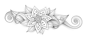 Vector Beautiful Abstract Monochrome Floral Composition. With Flowers, Leaves and Swirls. Floral Design Element without Specific Form. Doodle Style with Stock Images