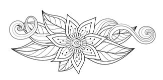 Vector Beautiful Abstract Monochrome Floral Composition. With Flowers, Leaves and Swirls. Floral Design Element without Specific Form. Doodle Style Coloring Stock Images