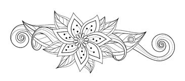 Vector Beautiful Abstract Monochrome Floral Composition. With Flowers, Leaves and Swirls. Floral Design Element without Specific Form. Doodle Style Coloring Stock Image