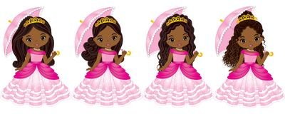 Vector Beautiful African American Princesses with Various Hairstyles. Vector Cinderella. Princess vector illustration Royalty Free Stock Photos