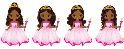 Vector Beautiful African American Princesses with Various Hairstyles. Vector Cinderella. Vector princess. Princesses vector illustration Stock Image