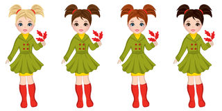 Vector Beautiful Autumn Girls with Oak Leaves. Vector beautiful young girls with various hair colors. Vector cute girls with oak leaves. Autumn girls vector Royalty Free Stock Photos