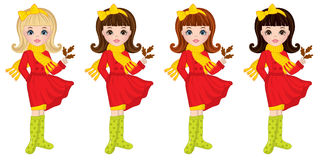 Vector Beautiful Autumn Girls with Oak Leaves Stock Image