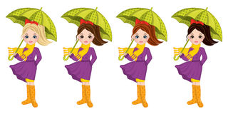 Vector Beautiful Autumn Girls with Umbrellas Stock Photo