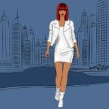 Vector beautiful black girl walks along the waterfront Royalty Free Stock Photography