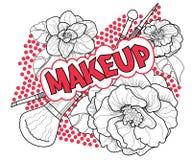 Beautiful graphic print makeup text and brushes stock photos
