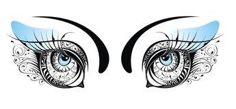 Vector beautiful blue floral eyes Stock Images