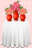 Vector beautiful bouquets of lilies and roses in v Royalty Free Stock Photos