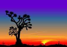 Vector Beautiful bright sunset in the desert. Vector bright beautiful desert landscape with the setting sun and the silhouette of a lone tree Stock Image
