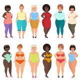 Vector beautiful cartoon happy and smiling plus size woman in casual, bikini, fashionable and evening dress. Curvy. Overweight females set royalty free illustration