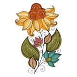 Vector Beautiful Colored Contour Flower Stock Images