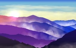 Free Vector Beautiful Colorful Silhouettes Of Misty Mountains With Sun And Clouds In The Sky Stock Photography - 119507912