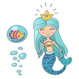 Vector Beautiful cute little siren mermaid princess with crown and tropic fish. Hand drawn illustration. Vector Beautiful cute little siren mermaid princess Stock Photography