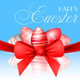Vector beautiful 3d illustration. Painted eggs and bow in resurrection of Christ. Easter holiday, Stock Photos