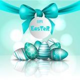 Vector beautiful 3d illustration. Painted eggs and bow in resurrection of Christ. Easter holiday, Stock Image