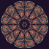 Vector Beautiful Deco Black Mandala, Patterned Design Element, Ethnic Amulet, round floral motif pattern Stock Images