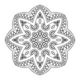 Vector Beautiful Deco Monochrome Contour Mandala Stock Image