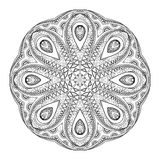 Vector Beautiful Deco Monochrome Contour Mandala Stock Photography