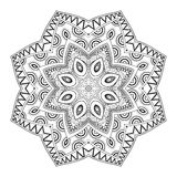 Vector Beautiful Deco Monochrome Contour Mandala. Patterned Design Element, Ethnic Amulet Stock Photo