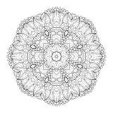Vector Beautiful Deco Monochrome Contour Mandala Royalty Free Stock Images