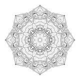 Vector Beautiful Deco Monochrome Contour Mandala Royalty Free Stock Image