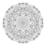 Vector Beautiful Deco Monochrome Contour Mandala Stock Photo