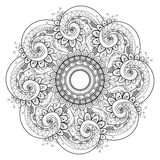 Vector Beautiful Deco Monochrome Contour Mandala Royalty Free Stock Photography
